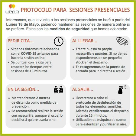 Protocolo UPAD para sesiones presenciales - Covid-19